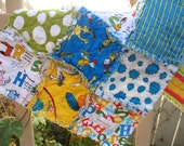 CLEARANCE - rag quilt lovely security - Dr Seuss fabric collection - reversible