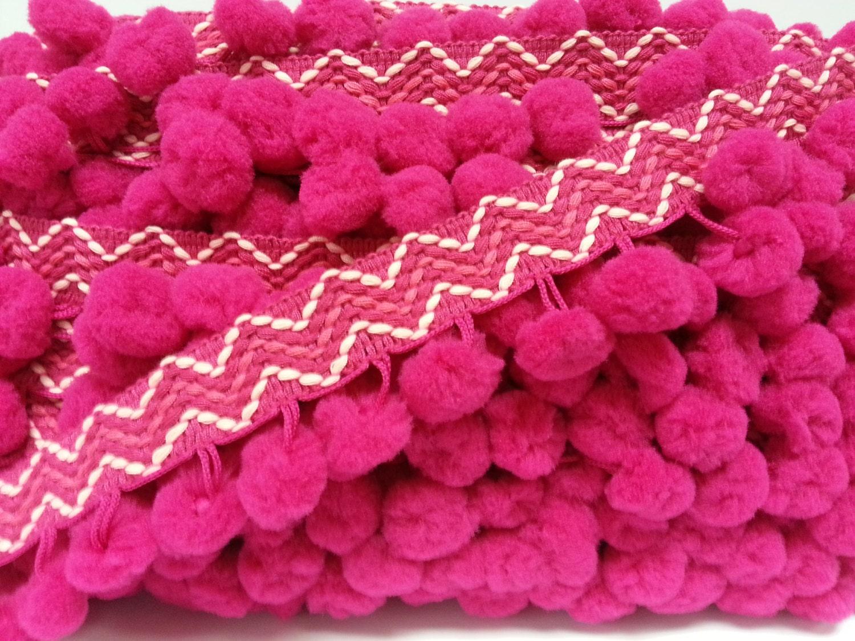 5 yards Hot Pink Extra Large Pom Pom Trim Stitch Ribbon pom