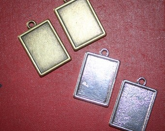 6 Rectangle Photo Pendants charms for photos Double sided bezel Inside dimensions are 20mm x 15 mm