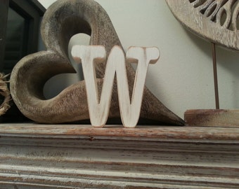 Freestanding Wooden Letter 'W' - Font Style T - 15cm