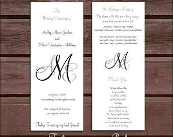 175 Monogram Wedding Ceremony Programs - monogrammed
