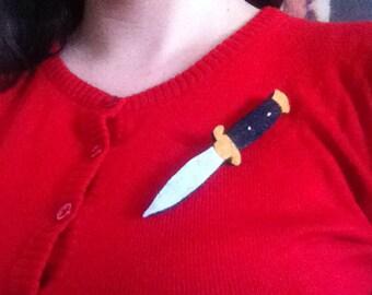 Stiletto switch blade knife felt pin
