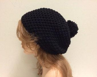 Crochet Slouchy Beanie Hat with POM POM - BLACK