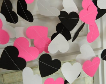 Bridal shower decorations - 10ft Pink Black & White Heart Garland - Wedding Garland - Bachelorette party decor- -Your color/size choice