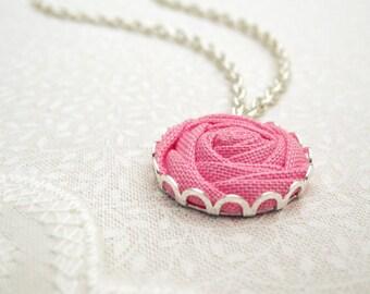 Pink Peony Necklace - Fabric Flower Pendant - Bubblegum Blossom Bridesmaid Jewellery