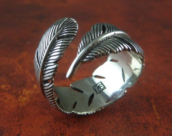 Feather Ring - White Bronze Feather Ring - Silver Feather Ring