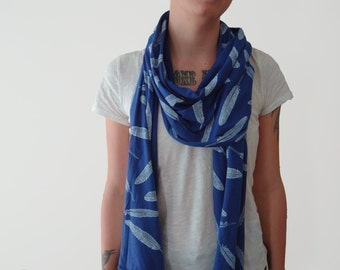 White Feather Lapis Blue Jersey Collage Scarf