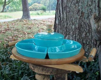 Mid Century Appetizer Serving Retro Aqua Chip & Dip Crudite Fabby Serving FIND