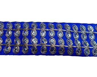 2  yards embroidered trim in gold and royal blue on dupioni silk