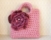 Little Girl Little Purse in dusky pink with big multitonal pink flower