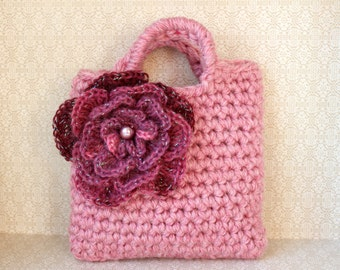 Little Girl Little Purse in dusky pink with big multitonal pink flower