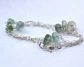 Genuine Stormy Seas shades of aqua, green, and gray Sea Glass Necklace or bracelet 24 inch chain