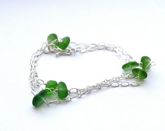 Genuine Green Sea Glass Necklace or bracelet 24 inch chain