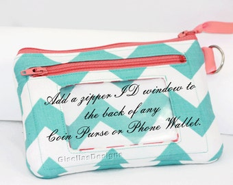Add an ID Window to a  Phone Wallet or Coin Purse in my Shop