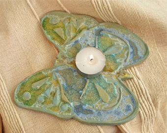 Ceramic butterfly with glass - hair straighteners rest or candle holder - SALE was GBP11.00 - blue and green