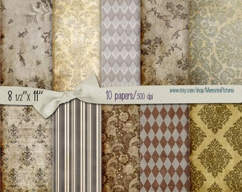 Digital decoupage Papers // vintage papers, stripes, damask //  brown  // Commercial Use // 8.5 x 11 in sheets,  10  papers (015us)