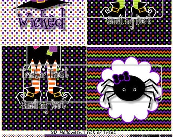 "DIY Printable ""Halloween Trick or Treat"" Shrinkable Digital Images (JPEG File)"