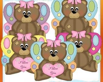lil Fairy Bears  Clipart (Digital Download ZIP File)