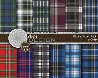 School Plaid Digital Paper - Traditional Tartan Patterns and School Uniform Plaids as Digital Backgrounds - Instant Download (DP092D)
