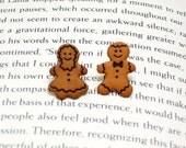 Gingerbread Man Button Earrings, Button Jewelry, Gingerbread Earrings, Christmas Jewelry, Holiday Earrings