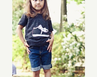 Ready to Ship Girls Shirt Back to School Organic Tee Blend Sneaker Pink and Houndstooth Ready to Ship