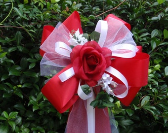 10 RED WHITE Red Rose Pew Bows Wedding Decorations Bridal