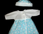 """Baby Doll Clothes - Soft Blue, Pink & White Bunny Print Dress and Hat Set FitsBitty Baby or Other 15"""" Baby Doll"""