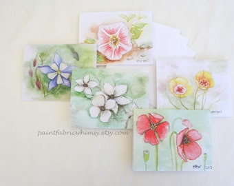 Note Card Set Original Watercolor Prints - Set of 5 Original Paintings Prints with Envelopes