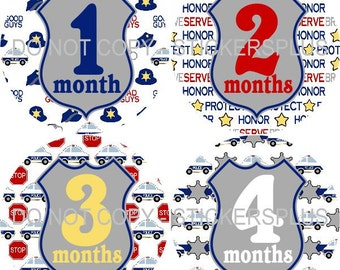 Baby Month Stickers Monthly Baby Stickers Milestone Stickers Baby Bodysuit Stickers Monthly Stickers Plus FREE Gift Boy Police Badge Car
