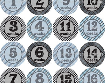 Baby Boy First Year Weekly Growth Milestone Age Onepiece Stickers Plus Gift Blue Gray Black Plaid Gingham 1-52 Weeks FREE Priority Upgrade