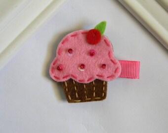Girls Cupcake Hair Clip
