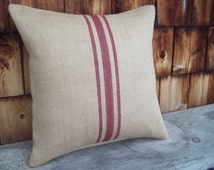 Hand Painted Grain Sack Pillow Cover - Barn Red Stripes or Color Choice - 16 x 16 to 24 x 24 - Burlap Pillow - Rustic Farmhouse Decor Pillow