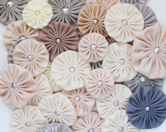 Fabric yoyo NATURALS, natural palette, Fabric Yoyos, Flower embellishment, supplies. Assorted yoyo embellishments by WhiteLilyFlowers