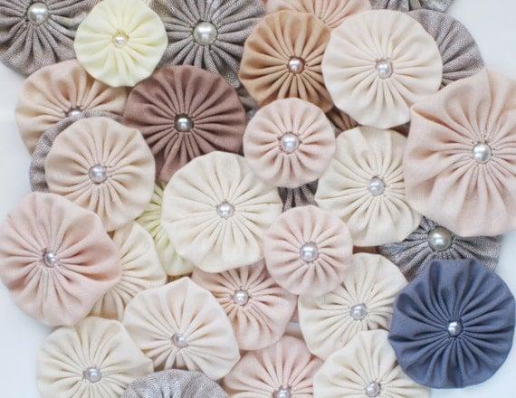 Fabric yoyo NATURALS, natural palette, Fabric Yoyos, Flower embellishment, supplies. Assorted yoyo embellishments by WhiteLilyFlowers