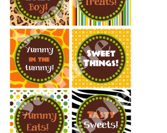 Custom Jungle Safari Baby Shower 3 inch Labels