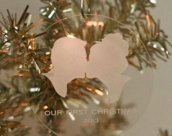Custom Silhouette Christmas Ornament for newlyweds, first Christmas together  - Our First Christmas Ornament
