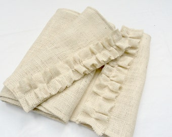 Ivory Burlap Table Runner Rustic Farmhouse Table Runner Custom Sizes Available Coastal Style Decor