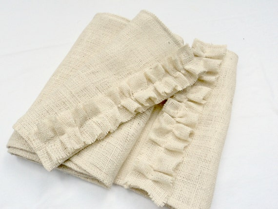 "Burlap Table Runner Select Your Length 14"" wide Natural or Ivory Burlap Table Runner Farmhouse Table Rustic Beach Decor"