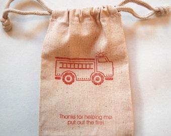 Firetruck Muslin Bags / Set of 20 / Favor Bags / Birthday Party Favor Bags