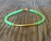 Tiny Neon Matt Green & Thin Gold Bar Friendship Bracelet