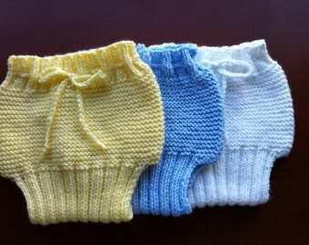Set of 3 Knitted Baby Boy Diaper Cover/Shorts/Soakers