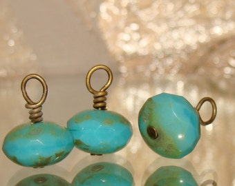 3 Turquoise blue picasso 11 x 7 bead drop dangles diy jewelry making earring charms
