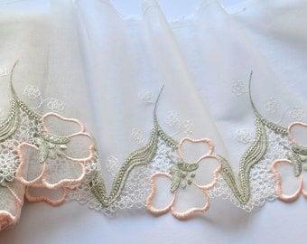 Peach, Sage Green Embroidered Floral Trim, Jersey Trim, Dressmaking, Lingerie, Costume, Dolls