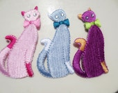 Cat Appliques Rhinestone Pink Blue Purple Embroidered (18)