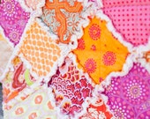 SALE 20% off, Orange and Pink, Bright and Cheerful Rag Quilt Lovey Ready to Ship
