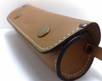 Handmade cylinder for sunglasses or reading glass cover from natural leather to be able to fit Ray Ban Wayfarer covers initials gift ideas