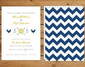 Chevron Wedding Invitations - customized, navy, gold, anchor, nautical, modern, fun design