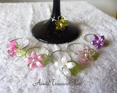 Pink Theme Flower Blossom Wine Glass Charms (set of 6)