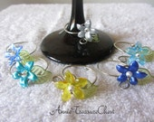 Blue Theme Flower Blossom Wine Glass Charms (set of 6)