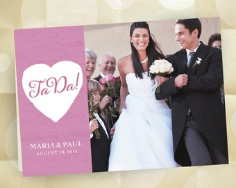 """Wedding Announcements -- """"TaDa!"""" Personalized Wedding Photo Stationery - Bride and Groom - 75 Custom Folding Cards with Envelopes"""